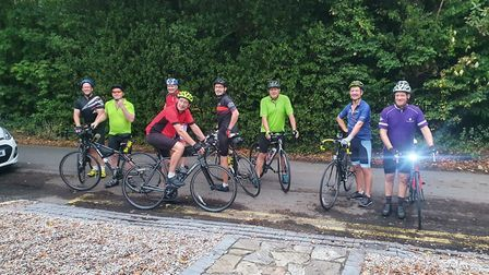 Cyclists are cycling from London to Sidmouth to raise money for Alzheimer's Research. Picture: Louis