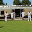 Players at Ottery St Mary socially distanced ahead of first round matches. Picture; OSMBC