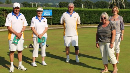 The Ottery St Mary competition winners Mike Kelsey, Marion Kelsey and Gerrard McCarthy with club cha