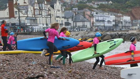 Sidmouth Surf Life Saving Club midweek action off Sidmouth. Picture: SIMON HORN