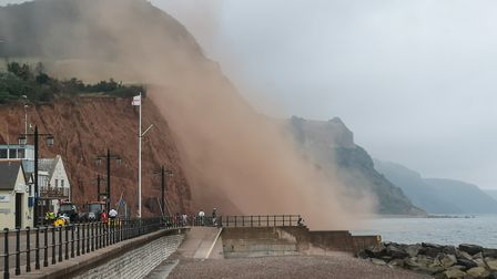 Cliff fall at East Beach, Sidmouth, witnessed on Sunday morning (August 17). A big dust cloud covere