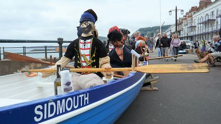 Sidmouth Gig Clubs crew of seven pirates came first in the Sidmouth Scarecrow festival. Picture SGC