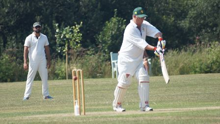 Tiptons Chris Tubbs batting in the game against The Met Office. Note the hand sanitiser at the foot