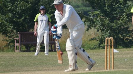 Tiptons Phil Tolley plays a forward defensive shot in the game against The Met Office. Picture PHIL