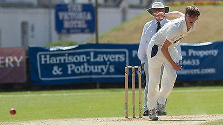 Byron Knowles in action at the Fortfield. The young seamer claimed a 'fivefer' in the Tier One Premi