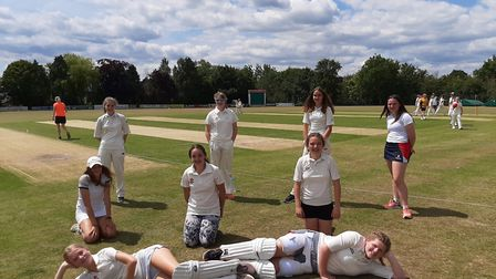 One of the Sidbury girls cricket teams line up for a socially distanced picture. Picture SIDBURY CC