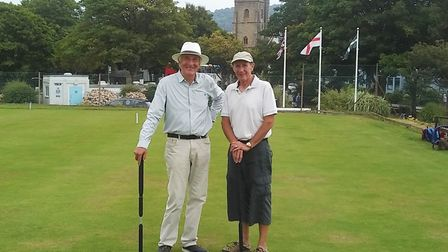 Joh Garner (left) the winner, and runner-up Kevin Dent who contested the final of the Sidmouth Croqu