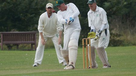 Tipton batsman Phil Tolley on his way to century number 56 for the club, scored in the August 2020 m