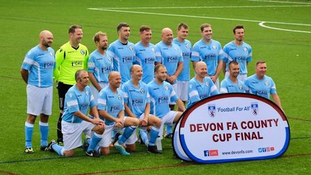 The Beer Albion Vets line up before the final of the Devon Vets Cup, a game they lost in a penalty s