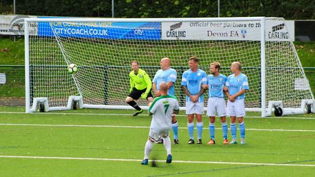 Action from the Devon Vets Cup final between Beer Albion and Lakeside. Picture SARAH MCCABE