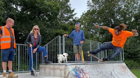 Employees of skatepark builders Maverick(including a skater) with councillors Louise Cole and Ian Ba