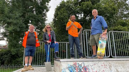 Employees of skateboard builders Maverick with councillors Louise Cole and Ian Barlow. Picture: Chr