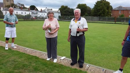 Sidmouth Bowls Club Fun Day Friday winners Liz Boyle and Ray Tallent. Picture; CAROL SMITH
