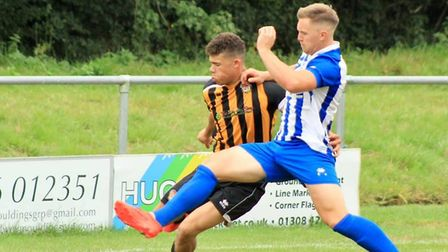 Action from the Ottery St Mary pre-season meeting with Axminster Town. Picture: SARAH MCCABE