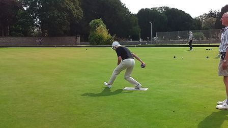 Action from Sidmouth Bowls Club and Sue in full swing. Picture; CAROL SMITH