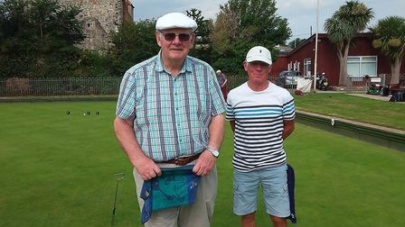 Sidmouth Bowls Club members Jim and Wilf ready for their match. Picture; CAROL SMITH
