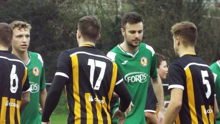 The players shake hands before Axminster Town v Sidmouth Town. Picture: Sam Cooper