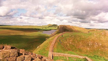A section of Hadrian's Wall, whose western end is close to the border between Scotland and England.