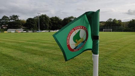 A Sidmouth Town corner flag at Manstone Lane. Picture: ARCHANT