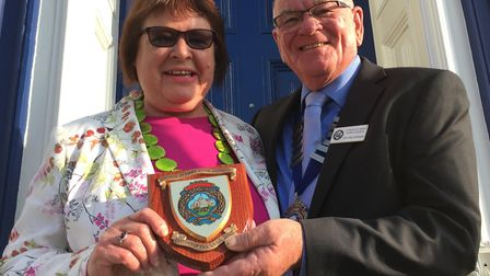 Phyllis Baxter receiving the Citizen of the Year award from mayor Glyn Dobson in 2017.