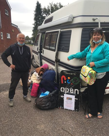 Trevor Leahong and Melanie Argent from the Ottery Refugee Response Group collecting items for refugee camps.