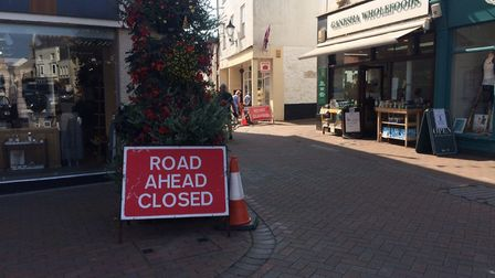 Temporary traffic measures in Sidmouth town centre. Picture:Philippa Davies