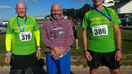 Sidmouth Running Club members Terry Bewes (left) Adrain Horne (centre) and David Welsh (right) after the Bradleys Exmouth...