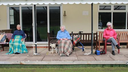 Socially distanced spectators enjoying the action at Ottery St Mary Bowls Club. Picture: OSMBC
