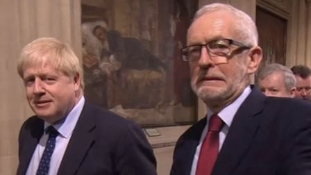 Boris Johnson and Jeremy Corbyn at the Queen's Speech. Photograph: BBC.