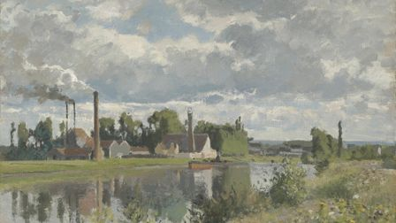 A painting by Camille Pissarro of the River Oise near Pontoise in 1873