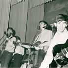 John Lennon,Paul McCartney and George Harrison of the Beatles, at Hamburg's Star-Club, circa May 1962 at the Star-Club in...