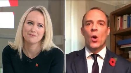 Dominic Raab (right) is interviewed by Sophy Ridge on Sky (left)