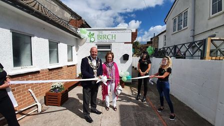 The mayor and mayoress of Weston with staff at The Birch Dementia Centre opening day. Picture: The B