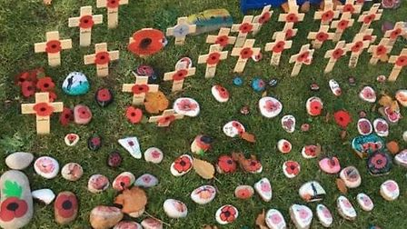 The memorial area of Grove Park was decorated with 100 painted rocks in 2018, marking the centennia