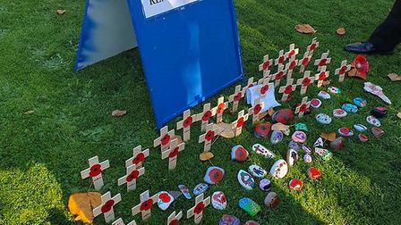 Tthe memorial area of Grove Park was decorated with 100 painted rocks in 2018, marking the centenni