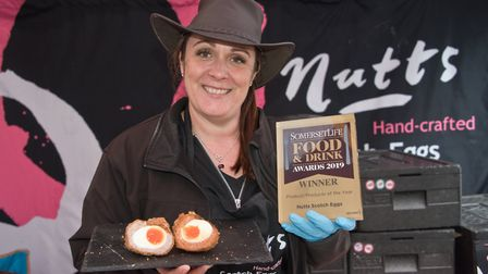 Louise Nutt selling her prize winning Scotch Eggs at eat:Burnham food festival in 2019. Picture: MA