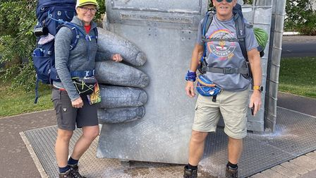 Rachel and Pete Stacey walked 630 miles from Minehead to Poole in aid of Weston Hospicecare.