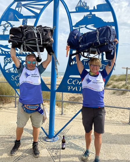 Rachel and Pete Stacey walked the South West Coast Path in one to to raise money for Weston Hospicec