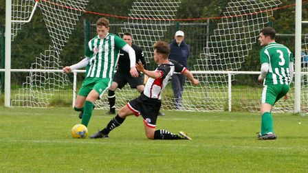 Louie Elliot during Portishead Town's 2-1 defeat against Almondsbury. Picture: Portishead Camera Clu