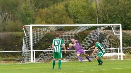 George Shanks-Boom in action for Portishead Town during their 2-1 defeat against Almondsbury. Pictur