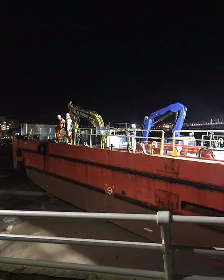 The vessel became grounded while helping with the pier restorationw work.