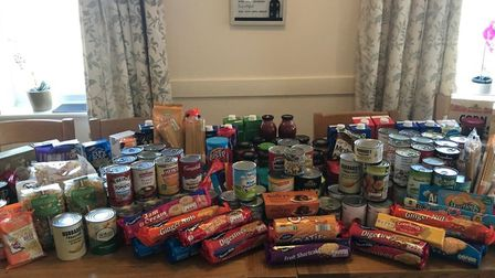 Staff and residents at St George's collected food which will be donated to the town's Food bank.