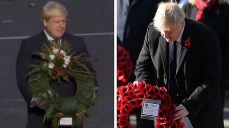 Boris Johnson with his wreath at the cenotaph. Photo: Getty Images and BBC