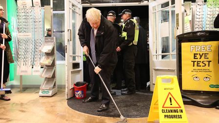 Prime Minister Boris Johnson was mocked for his poor mopping skills as he visited flood-hit Matlock.