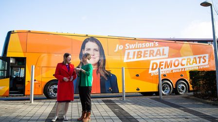 Liberal Democrat leader Jo Swinson with Lib Dem candidate for St Albans Daisy Cooper in St Albans whilst on the General...