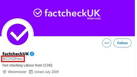 Fact-checking organisation Full Fact has criticised the Conservatives for changing their Twitter han