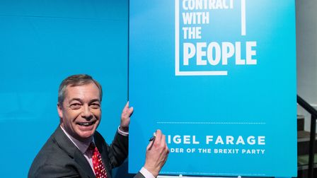 Brexit Party leader Nigel Farage during the party's policy launch in Westminster. Photograph: Domini