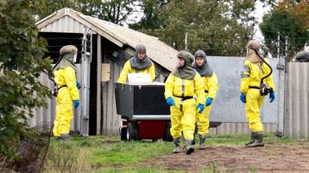 Officials from the Danish Veterinary and Food Administration and the Danish Emergency Management Agency at a mink farm...