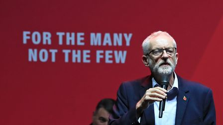 Labour leader Jeremy Corbyn addresses a Labour rally at the O2 Academy in Manchester, while on the G