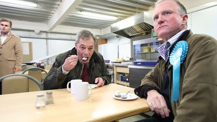 Nigel Farage and Christopher Barker, Brexit Party candidate for Great Grimsby constituency. Photogra